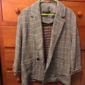 Zara   Check roll-sleeve blazer